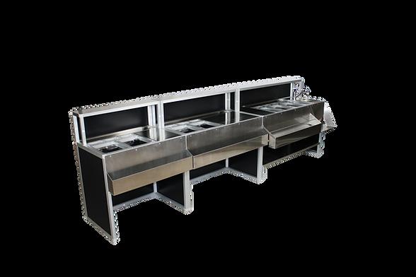 Bancone bar modulabile, versatile, da incassare all'interno del locale. Personalizzabile e su misura, luminoso e moderno per utilizzo interno ed esterno