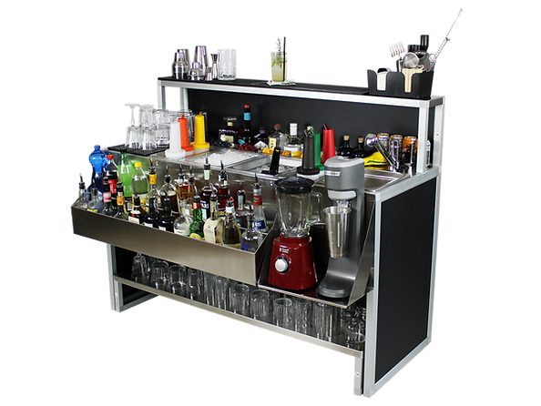 Omega 15 professional indestructible stainless steel cocktail bar, modern sleek with faucet and sink for working outside the venue. Transportable and customizable
