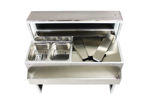 Bancone Bar modulare 120 cm da incasso per l'interno del locale, indistruttibile e impermeabile in acciaio inox