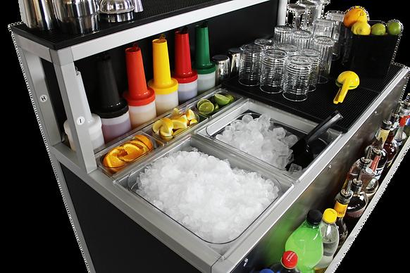 Cocktail station arredata con vasche per ghiacco per esterno del locale, eventi e feste, indipendente