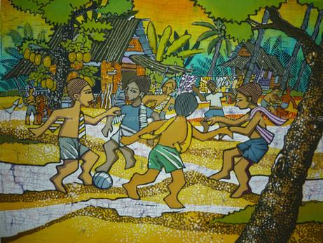 Village football, Batik Art, 58 x 80 cm,