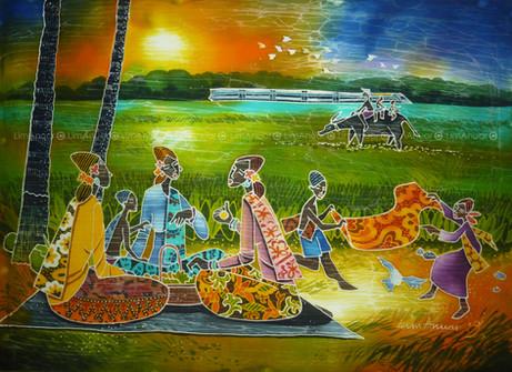 Go Back to Hometown, Batik Art, 42cm x 5