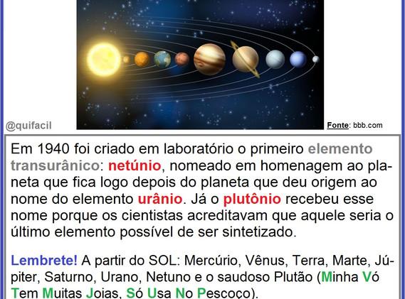 A Química e o Sistema Solar