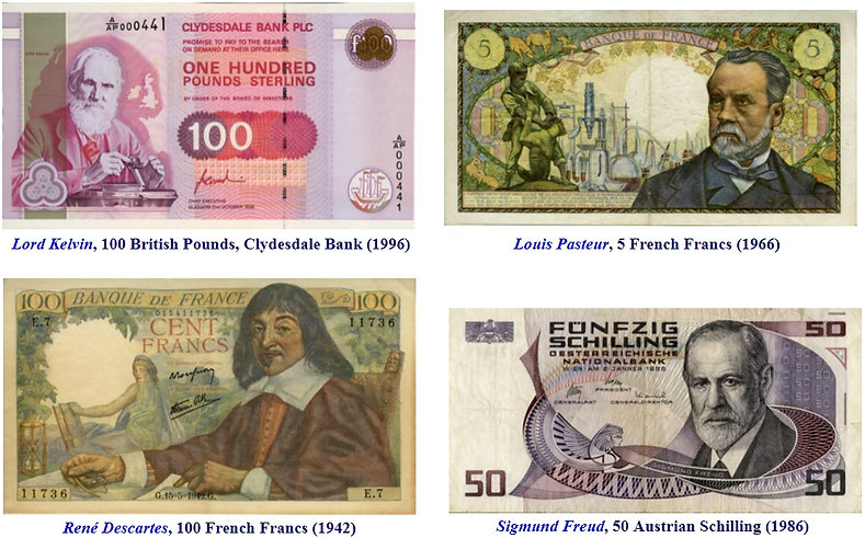 Cientistas homenageados em dinheiro notas cédulas moedas