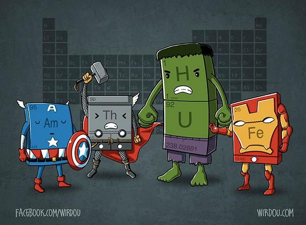 Vingadores elementos químicos
