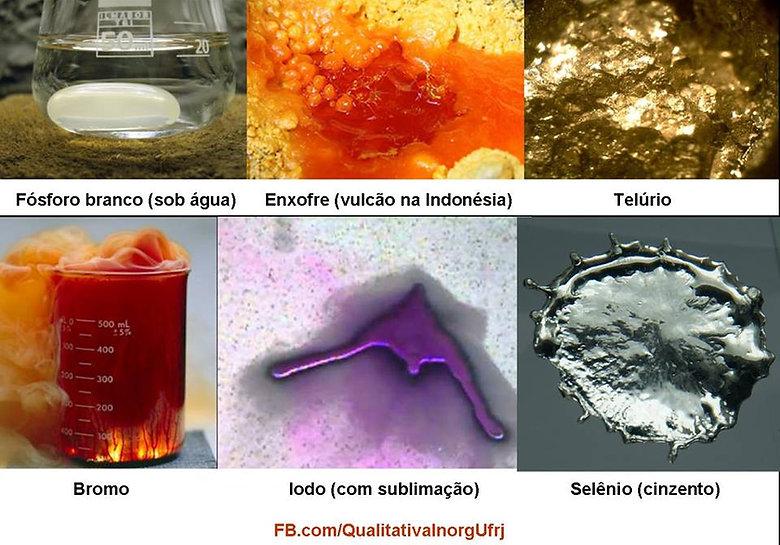 Ametais estado líquido fósforo branco iodo bromo