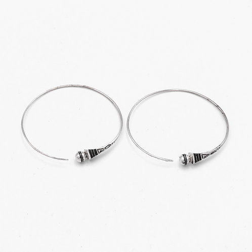 TOUAREG SILVER AND EBONY HOOPS