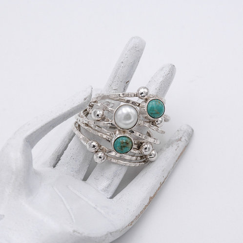 TURQUOISE/PEARL RING