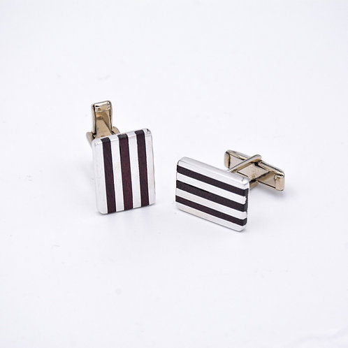 SILVER and ROSEWOOD CUFFLINKS