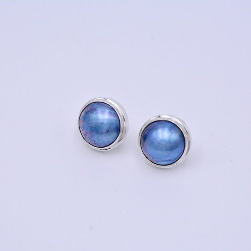 BLUE MABE PEARL STUDS
