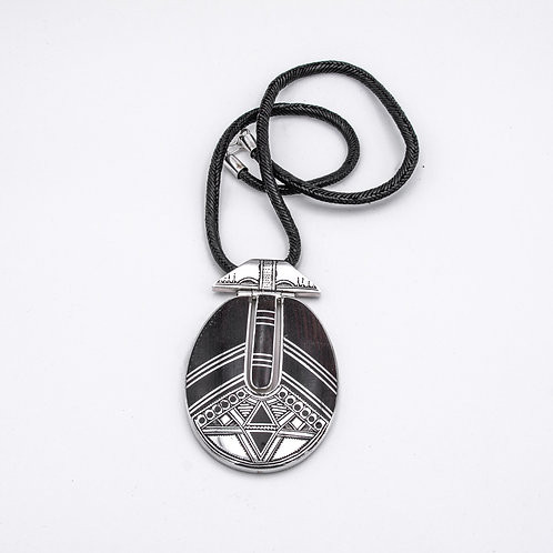 TOUAREG SILVER AND EBONY PENDANT
