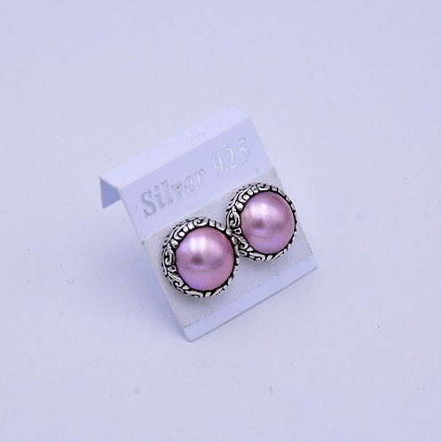 PINK MABE PEARL STUDS