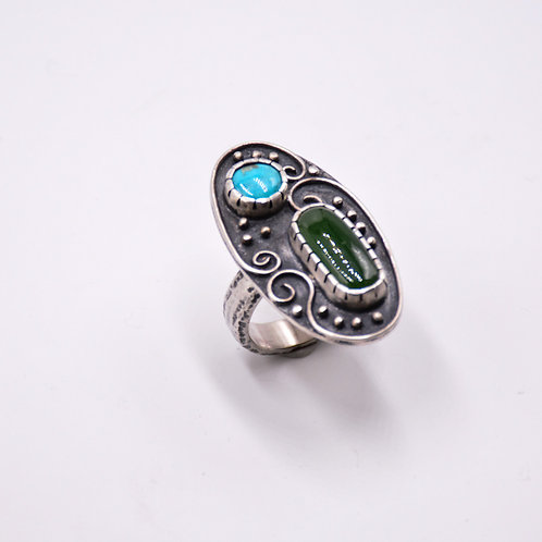 TURQUOISE AND JADE RING