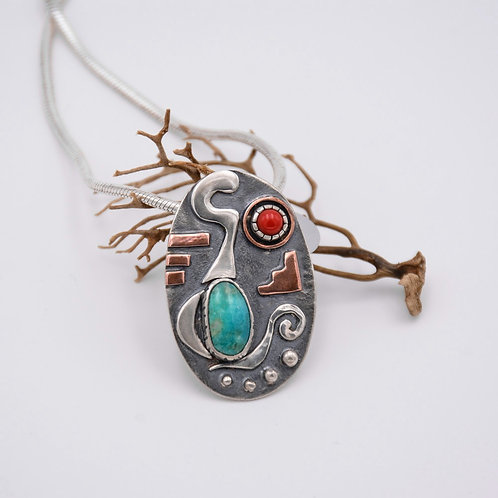 TURQUOISE AND CORAL SILVER PENDANT