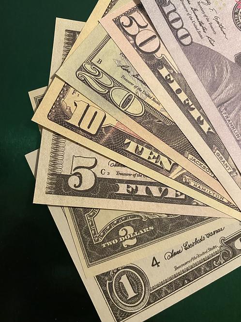 "XA ""Faux Money"" sheets"