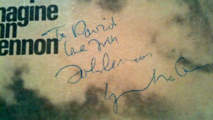 """Imagine"" album, autographed by Lennon to David Grinspoon."