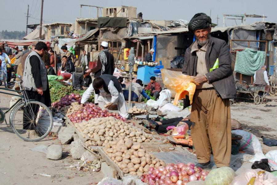Outdoor fruit market in Afghanistan