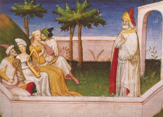 Sabbah with followers and maidens in his gardens.