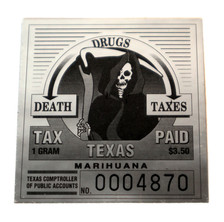 "Texas ""Drugs, Death, Taxes"" Marihuana Stamp"