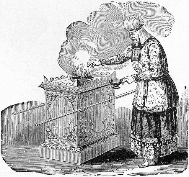 "High priest offering incense on the altar, as in Leviticus 16:12; illustration from Henry Davenport Northrop, ""Treasures of the Bible,"" published 1894"