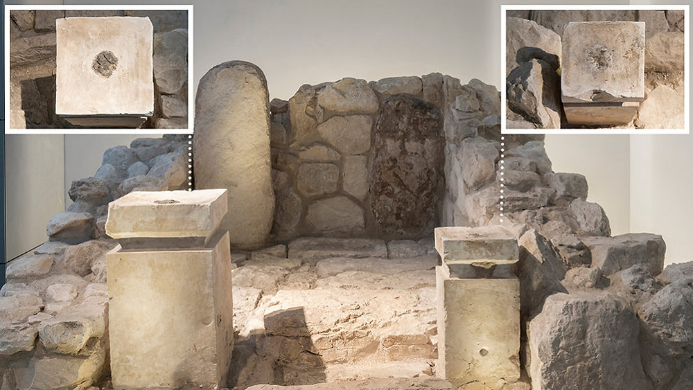 Two altars at Tel Arad: frankincense (left) & cannabis (right).  (Laura Lachman / The Israel Museum)