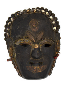 Primitive Mask with Cannabis Leaf Talisman