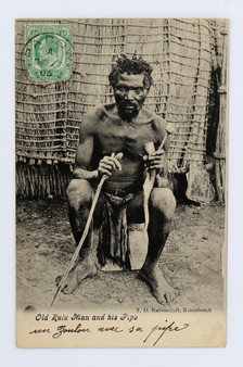 """Old Zulu Man and his Pipe"" Postcard"