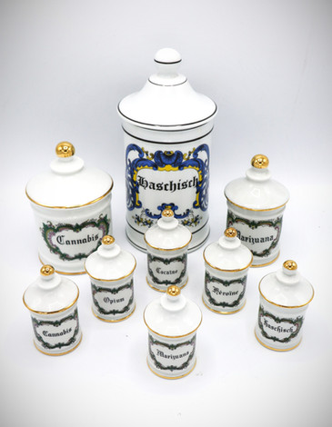 Set of Porcelain Apothecary Jars