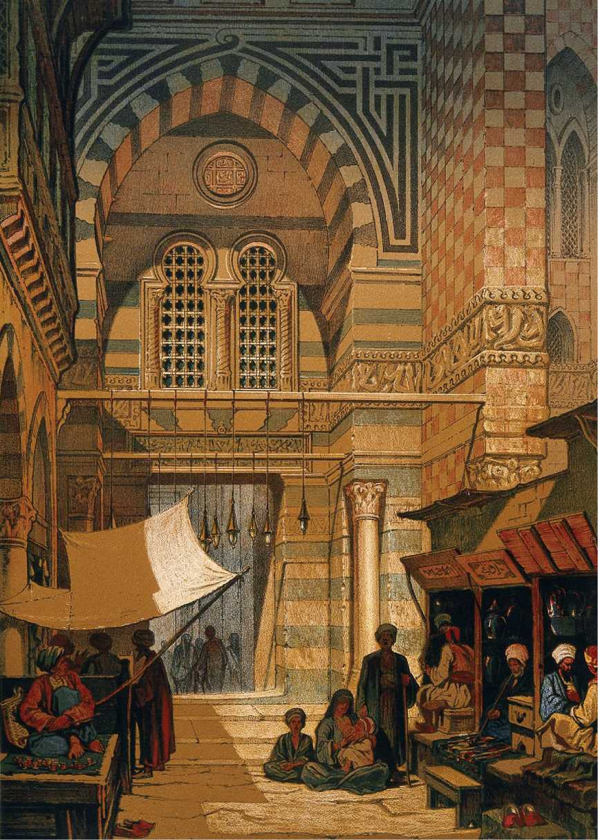 Lithograph of a hashish market in Cairo, published in Paris in 1850.