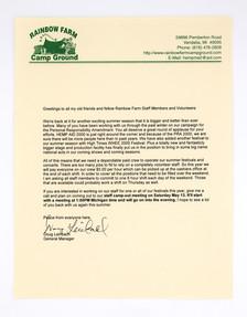 Rainbow Farm Event Staff Letter