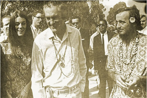 Johnny Griggs (right) with Timothy Leary