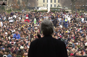 Stroup speaking at Hash Bash