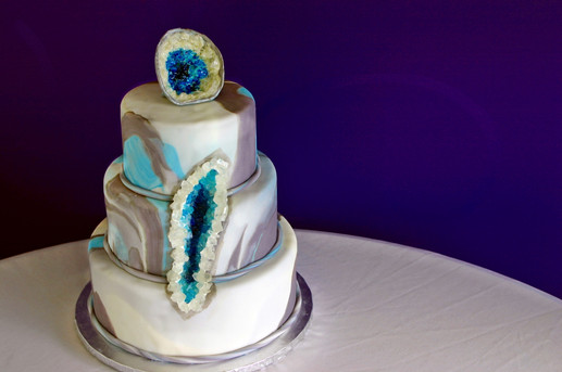 "3-Tiered ""marbled"" fondant cake with edible geode feature!"