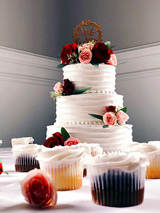 3-Tiered buttercream ruffle cake and cupcakes!