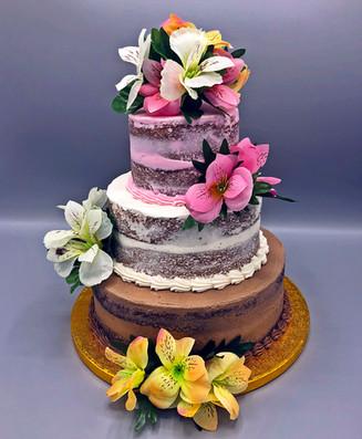 Neopolitan nearly naked cake