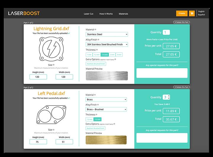 LaserBoost Corte Laser Online Laser Cutt