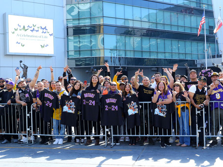 Hundreds of fans say Goodbye to Kobe, Gianna, and the others.
