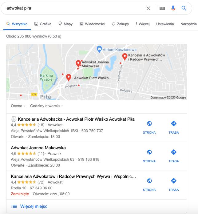Adwokat Piotr Waśko - nasz Klient w TOP 1 Google