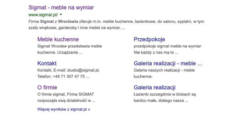 Widok w Google - Sigmat Meble Wrocław