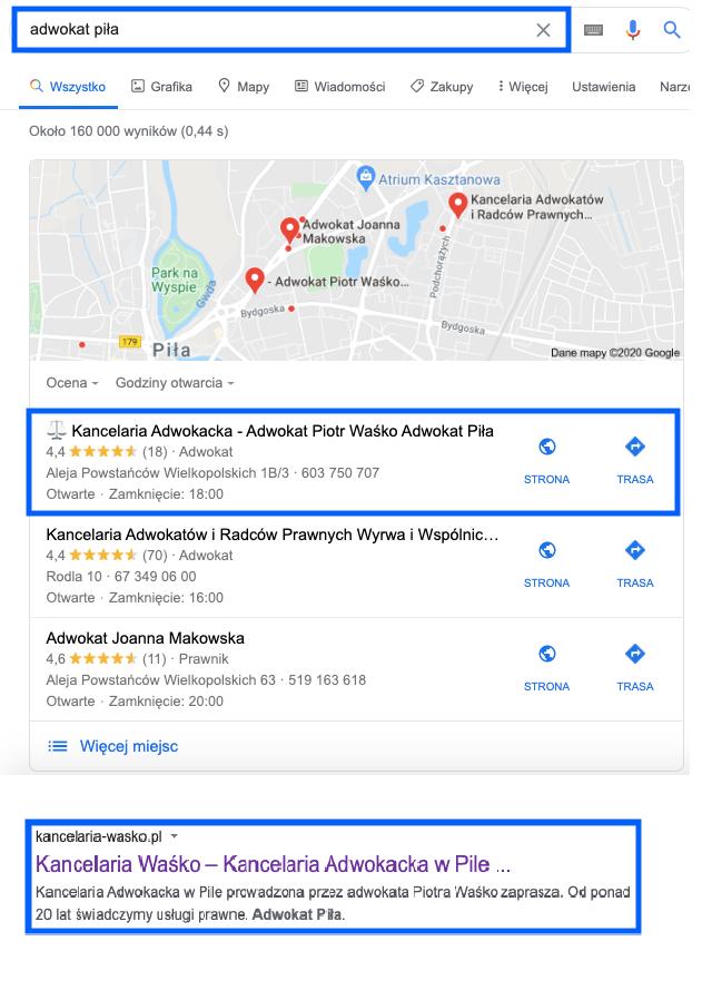 Klient SEOmotive.pl Wpływ wizytówki Google Moja Firma na Pozycjonowanie strony internetowej