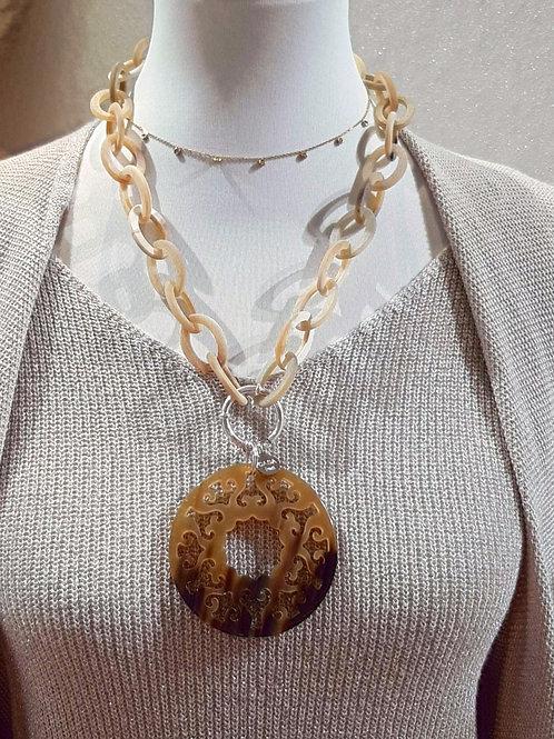 GOLDEN SHINE 925 Sterling Silber Vario Collier Büffelhorn