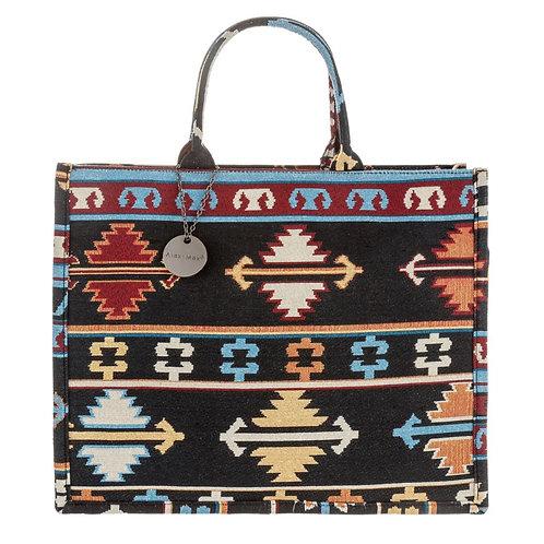 Azteken Book Tote Bag Large Braun Schwarz