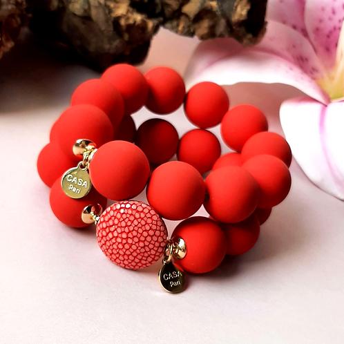 Candy Rochenleder Armband Rot / Set Gold oder Silber