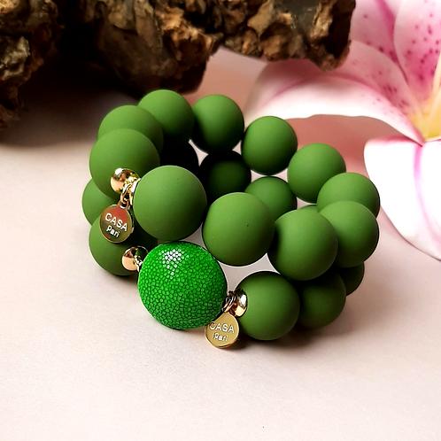 Candy Rochenleder Armband Grün / Set Gold oder Silber