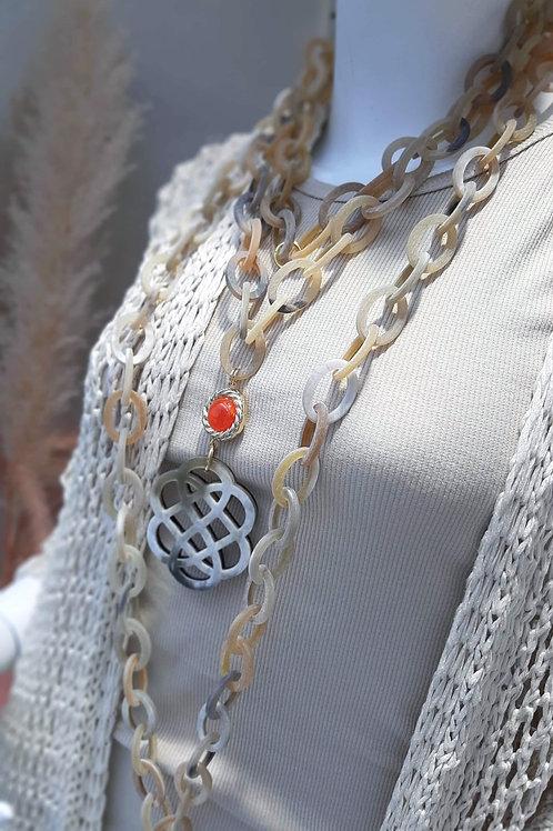 SPRECIOUS KORAL Büffelhorn Kette