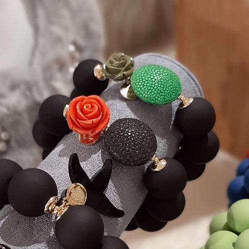 SPRECIOUS Rose Rochenleder Armband