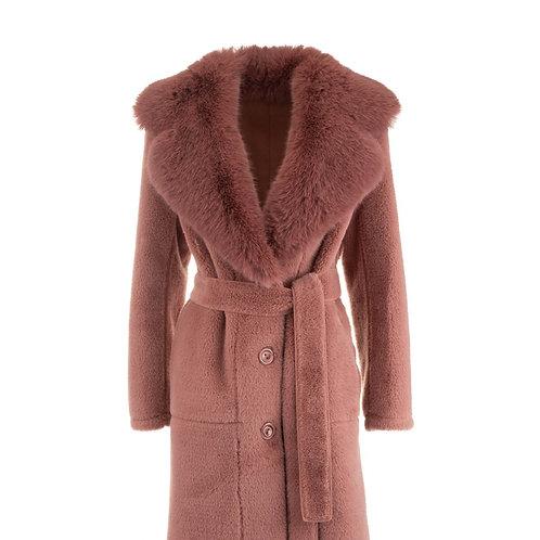 De Luxe Plumy Coat Fake Fur Dusty Pink