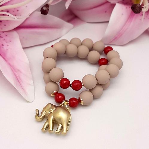 SPRECIOUS  Elephant Armband Rot