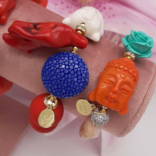 SPRECIOUS Rochenleder Coral Buddha Armband