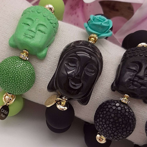 SPRECIOUS Buddha Horn Armband Schwarz